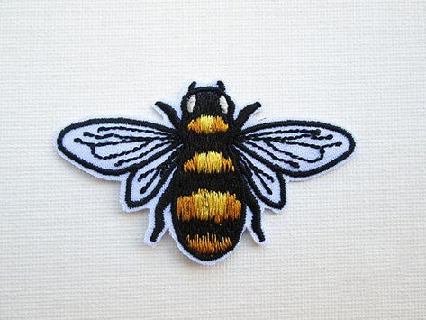 BEE Striped Tiny Iron On Embroidered Patch Bumble Bees