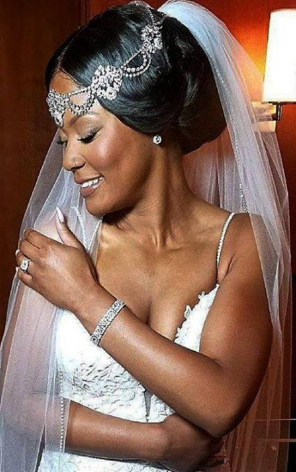22 Ideas Wedding Hairstyles For Black Women With Veil Headpieces