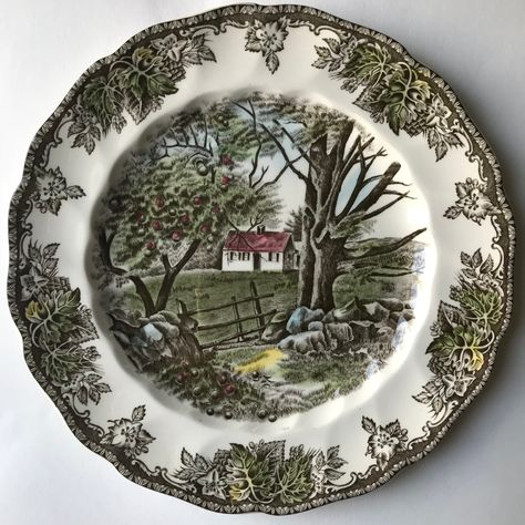 Vintage The Friendly Village by Johnson Brothers Ironstone Luncheon Plate, The Stone Wall
