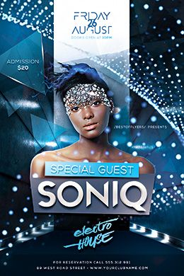 Electro House Soniq Psd Flyer Template  Design By BestOfFlyers