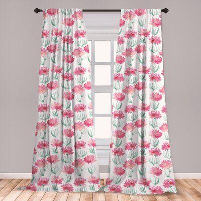 East Urban Home Watercolor Flowers Room Darkening Rod Pocket Curtain Panels Wayfair In 2020 Floral Room Rod Pocket Curtain Panels Panel Curtains