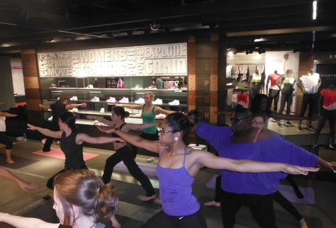 Niketown Oxford circus - London, yoga class in store to enable people to go and do it