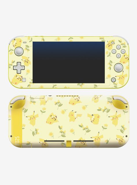 Refresh the look of your game console with this light yellow decal from Pokemon . Printed all over with Pikachu in different poses with leaves and yellow flowers. Compatible with Nintendo Switch Lite systems. Nintendo Lite, Nintendo Switch Case, Nintendo Switch System, Super Nintendo, Nintendo Switch Accessories, Gaming Accessories, Kawaii Games, Custom Consoles, Nes Classic