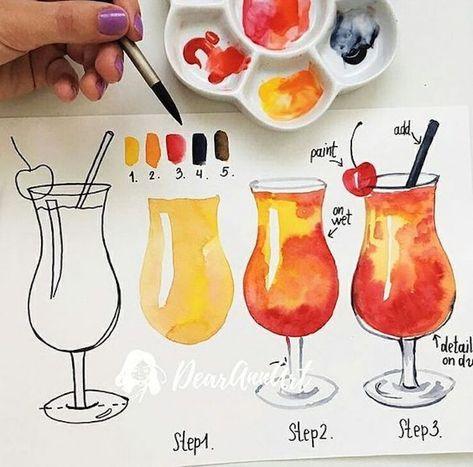 Cocktail Zeichnen Lernen Mit Aquarellfarben Anleitung In Drei