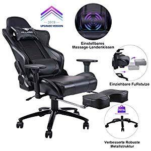 Killabee Gaming Stuhl Verstellbares Massage Lendenkissen Einziehbare Fussstutze Verstellbare Armlehne Und Hohe Ruckenlehne A Office Chair Foot Rest Gaming Chair