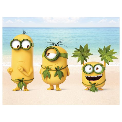 Minions: Beach Video Conference Mural - Officially Licensed NBC Universal Removable Wall Adhesive Decal Giant (54