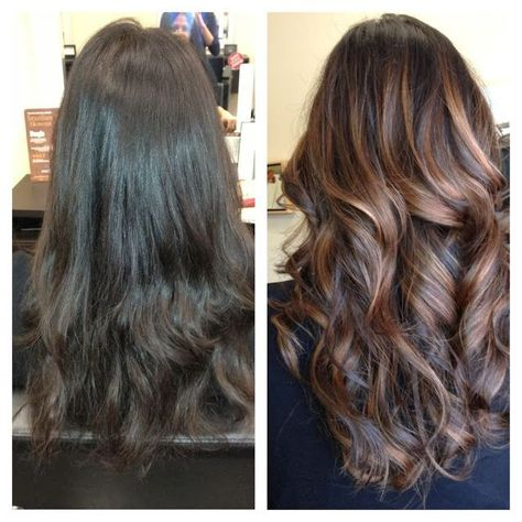Balayage (painted-on) highlights. What a perfect way to perk upbrunette hair.
