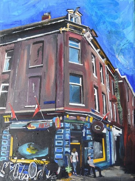 Amsterdam The Blue Coffee Shop In Summer Painting Coffee