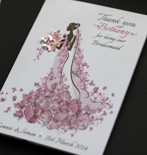 LARGE Handmade Personalised THANK YOU Card - Bridesmaid Maid of ...