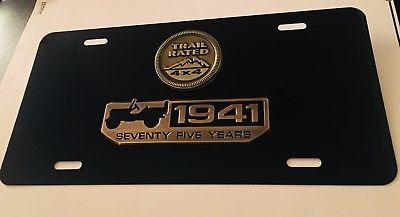 3d Custom Metal 75 Years Wrangler Jeep Black License Plate Free Shipping Custom Jeep Jeep Wrangler Jeep
