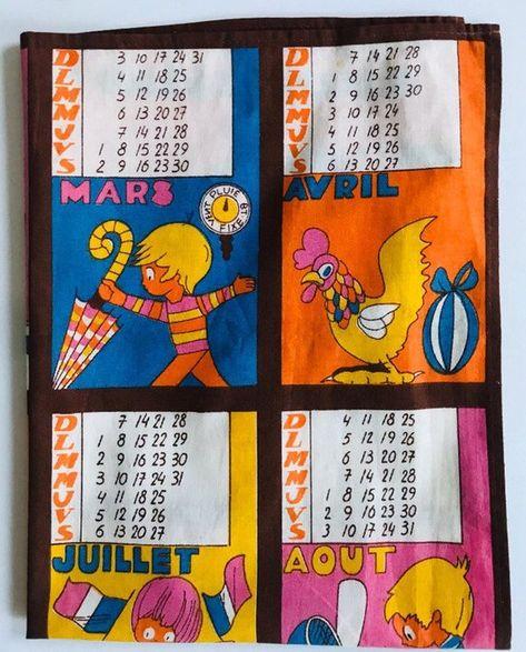 1974 Calendar French Kitchen Cloth Tea Towel Comptoirs Francais