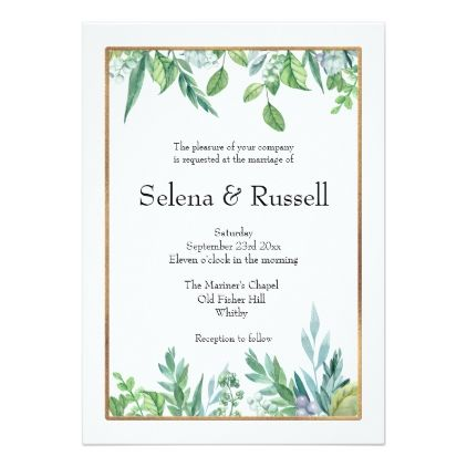 Green Leaves Gold Frame Wedding Invitation Zazzle Com