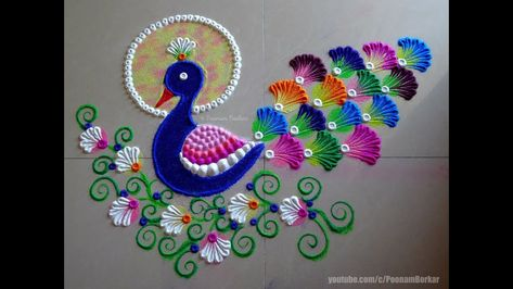 Peacock rangoli using bangles