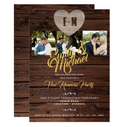 Rustic Vow Renewal Party With Photos Invitations Zazzle