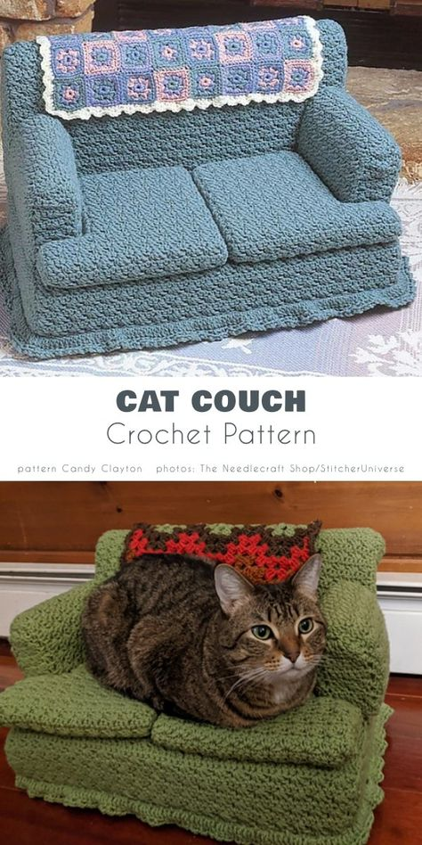 Crochet Crafts, Crochet Projects, Free Crochet, Knit Crochet, Cat Couch, Sewing Patterns, Crochet Patterns, Indian Embroidery, Crochet Accessories