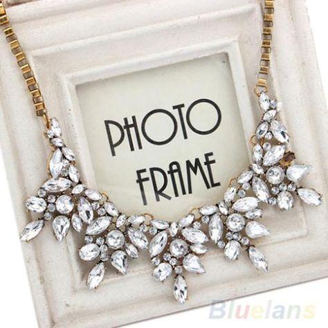 Elegant Women Jewelry Rhinestone Crystal Swans Choker Bib Statement Necklace