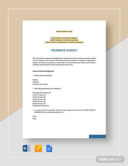 Feedback Survey Template Word Doc Apple Mac Pages Google Docs Survey Template Survey Template Word Word Doc