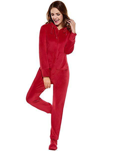 beste Qualität für begrenzter Stil Schönheit HOTOUCH Damen Fleece Strampelanzug Onesie Schlafanzug ...