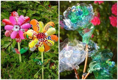Blumen aus Plastikflaschen als Gartendeko im Beet