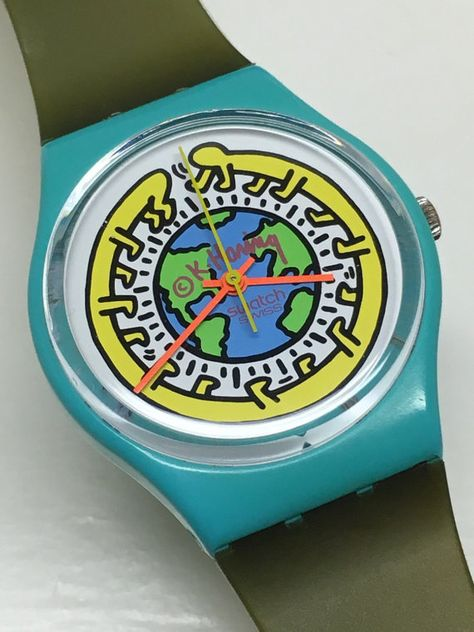 Items similar to Vintage Keith Haring Swatch Watch Milles Pattes 1985 Pop Art Special Turquoise Blue Avocado Green Retro Easter Gift on Etsy