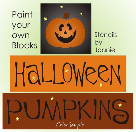 Stencil Halloween Pumpkins Happy Jack Lantern Stars Art Sign Country Prim Blocks