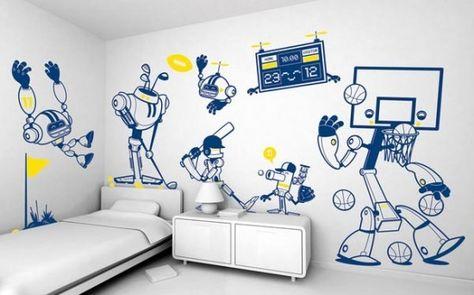 Home Decor Items Cartoon Robot Wall Stickers Poster 3d Decal Wallpaper Decor Children S Room Kisetsu System Co Jp