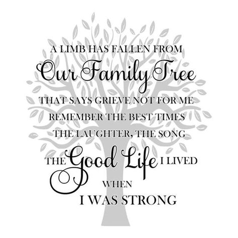 SVG - A Limb has Fallen from Our Family Tree - Memorial SVG - Grief SVG - Sympathy svg - Funeral Program svg - Sign svg - Home decor svg