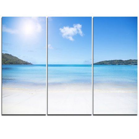 Design Art Calm Beach Of Azure Indian Ocean 3 Piece Graphic Art On Wrapped Canvas Set Indianhomedecor Seascape Canvas Canvas Set Canvas Art Prints