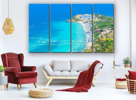 Beach Canvas Beach Wall Art Sea Canvas Palm Wall Art Canvas