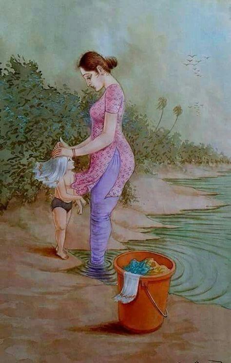 artwork of Punjab mother and son taking bath #PunjabPainting #Sikhpainting #IndianArtwork #KaurArtwork #IndiansikhArtwork #Punjabikaurpainting #Painting #Artwork #Sikhartwork #IndianArtwork #KaurArtwork #gurdwaras