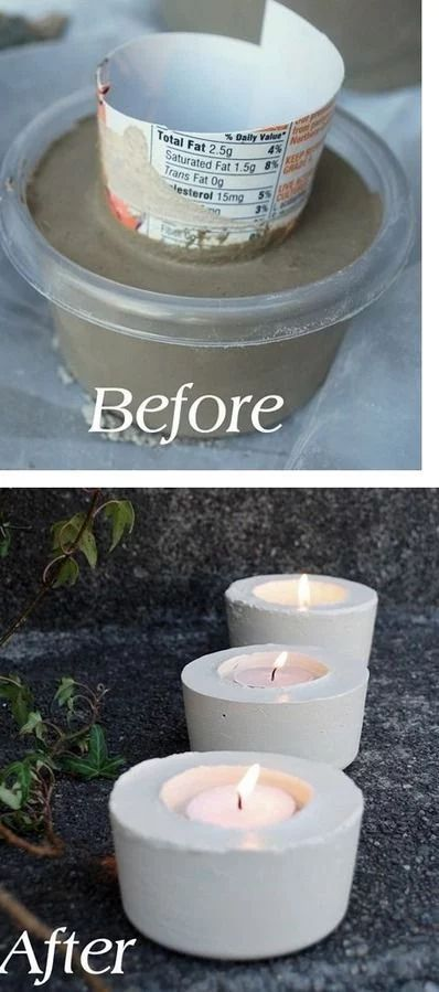 DIY: Cement Candle-holders http://resourcefulgenie.com/2016/05/11/best-22-diy-concrete-project-ideas/20/ To view all projects just click the arrow butto... - Emma Mia - Google+