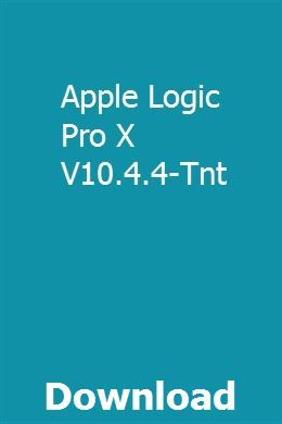 Apple Logic Pro X V10 4 4-Tnt download online full