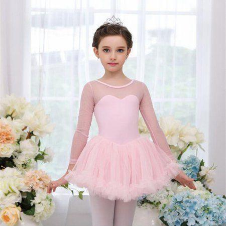 Girls Ballet Dance Dress Kids Gymnastics Leotard with Lace Tutu Skirt Outfits