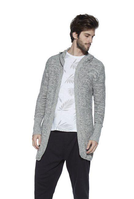 dff454af ETA by Westside Grey Slim Fit Hooded Knit Jacket -   1699.00   Men's ...