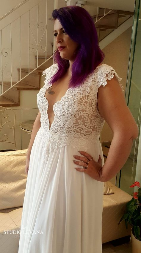860b1a2fd97c Studio Levana Plus size and Modest wedding gowns @studiolevana. Stunning  real curvy bride in a bohemian embroidered wedding gown for fuller figured  brides.