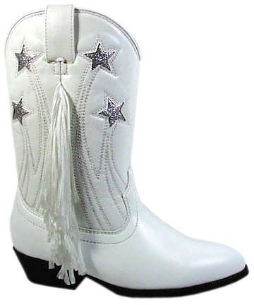 Girls White Cowboy Boots with fringe