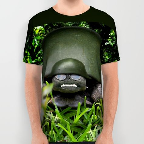 #Army Turtle - Slow Commando All Over Print Shirt by #Gravityx9 | #Society6  -