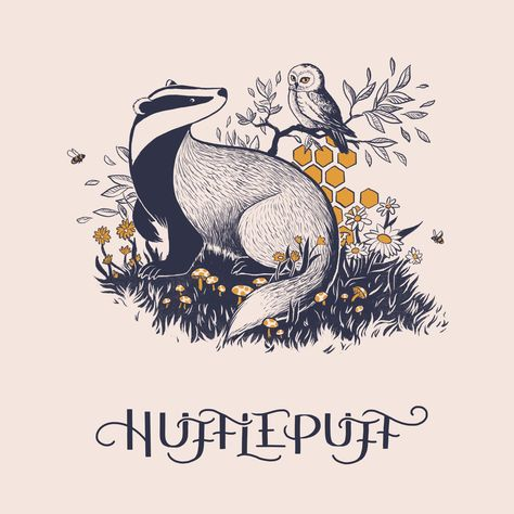 Hufflepuff, an art print by Ash Weaver Mundo Harry Potter, Harry Potter Houses, Harry Potter Love, Harry Potter Universal, Hogwarts Houses, Harry Potter World, Hufflepuff Pride, Ravenclaw, Luna Lovegood