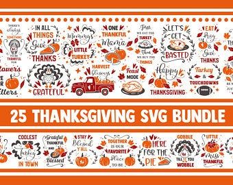 Pumpkin quotes svg Thankful Svg Fall svg bundle Bundle SVG thanksgiving 25 SVG design for Cricut Autumn Svg bundle
