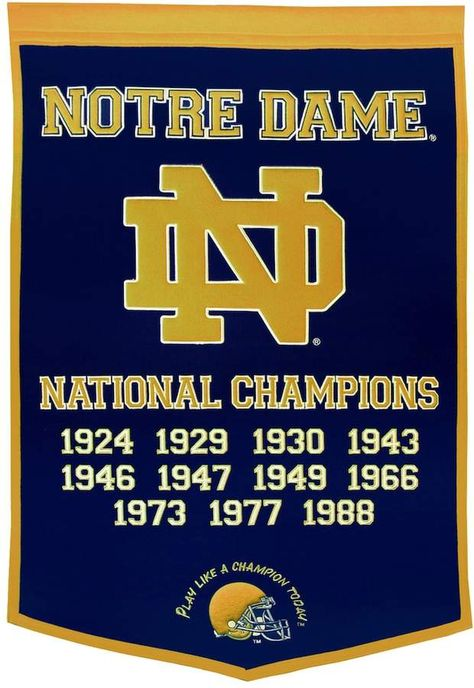 Commemorate your favorite team's dynasty with this Notre Dame Fighting Irish banner honoring their national championships.