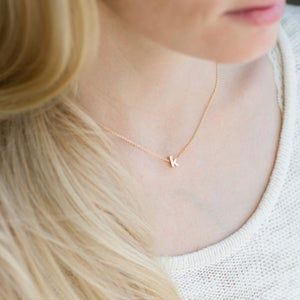 Rose gold initial necklace,name necklace,tiny script initial,personalized initial necklace,small letter necklace,dainty initial necklace