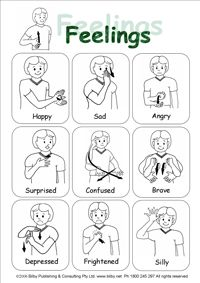 sign language emotions   quick reference sheet for emotions or ...