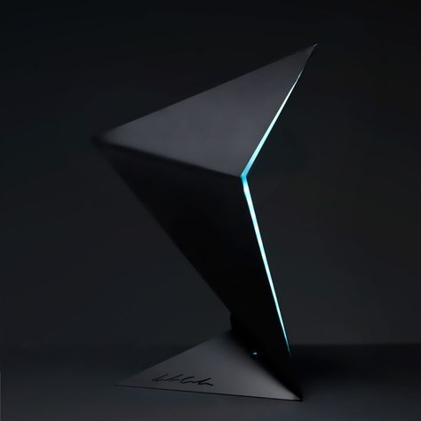 """Aurora is the result of a research of dynamic balance between form and lines. A static object, but due to the effects of light and slender forms, appears in motion. The shape is inspired by aircraft of the new generation, this gives an """"aerodynamic"""" effect to the lamp."""