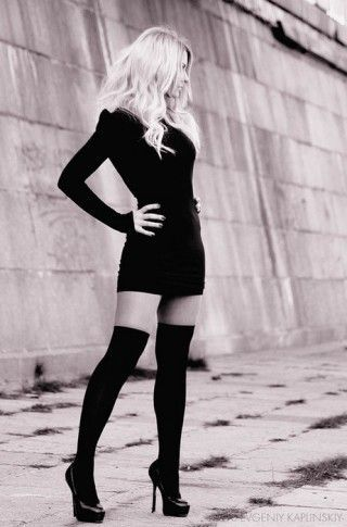add00c914 Short black dress, knee-high socks, heels. Simple, elegant, and gorgeous  use of all-black. Pretty photography too