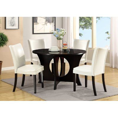 Hokku Designs Gleaming 5 Piece Dining Set Chair Upholstery White Wayfair Dining Room Sets Dining Room Sets Round Dining Table Sets