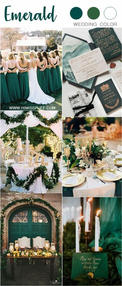 Emerald Green wedding color ideas for 2019 #weddings #wedding #weddingcolors #greenwedding #himisspuff