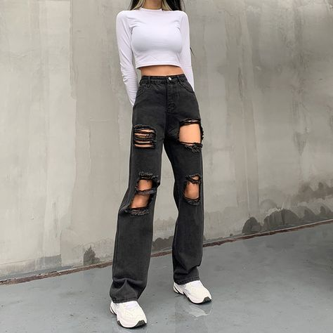 Y2k Ripped Jeans - Black / L / United States