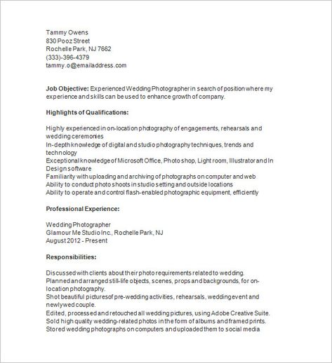 Photographer Resume Template U2013 17+ Free Samples, Examples, Format   Freelance  Photographer Resume  Freelance Photographer Resume