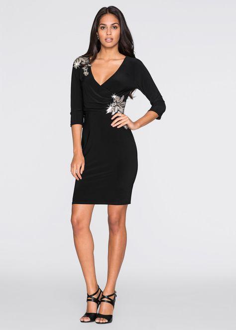 Vestiti Lunghi Eleganti Shop Online.Abito In Look Incrociato Nero Bodyflirt Ordinabile Nello Shop