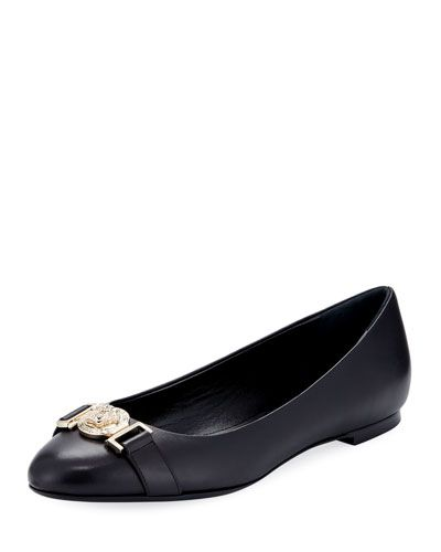 Leather Ballet Flats With Lion Head In